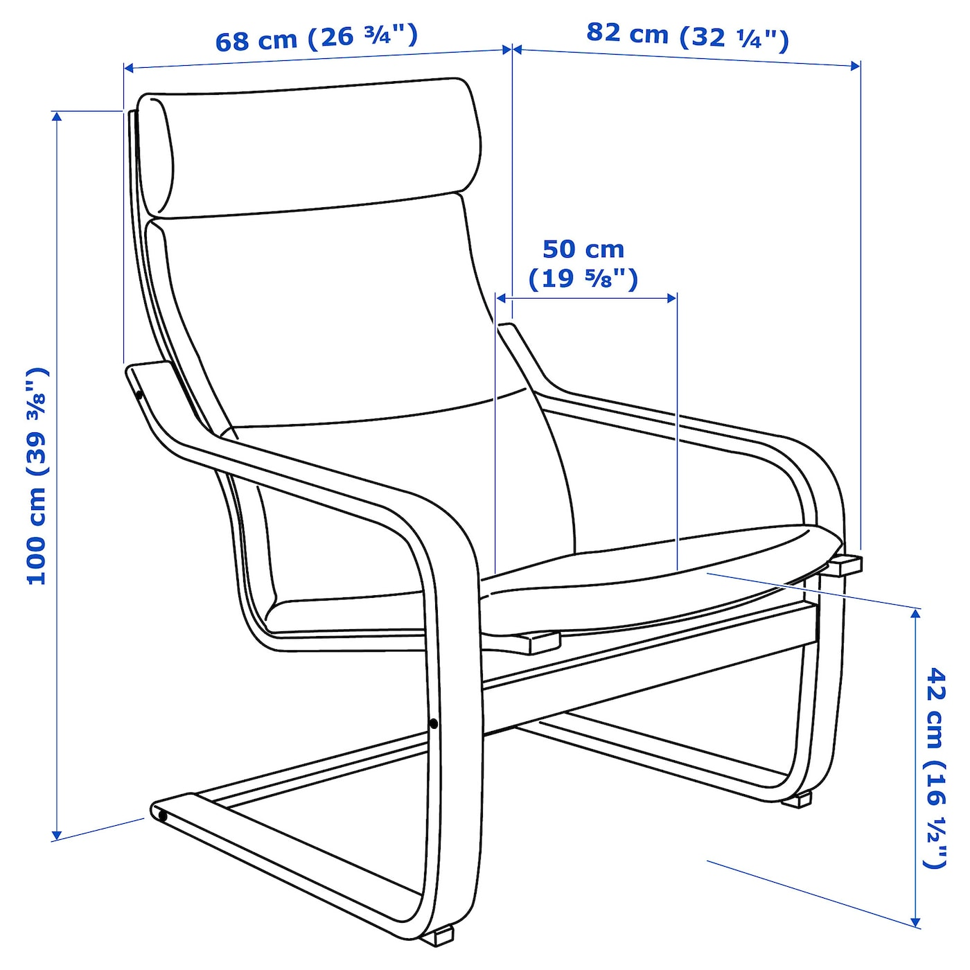 Poäng Armchair Birch Veneervislanda Blackwhite Ikea