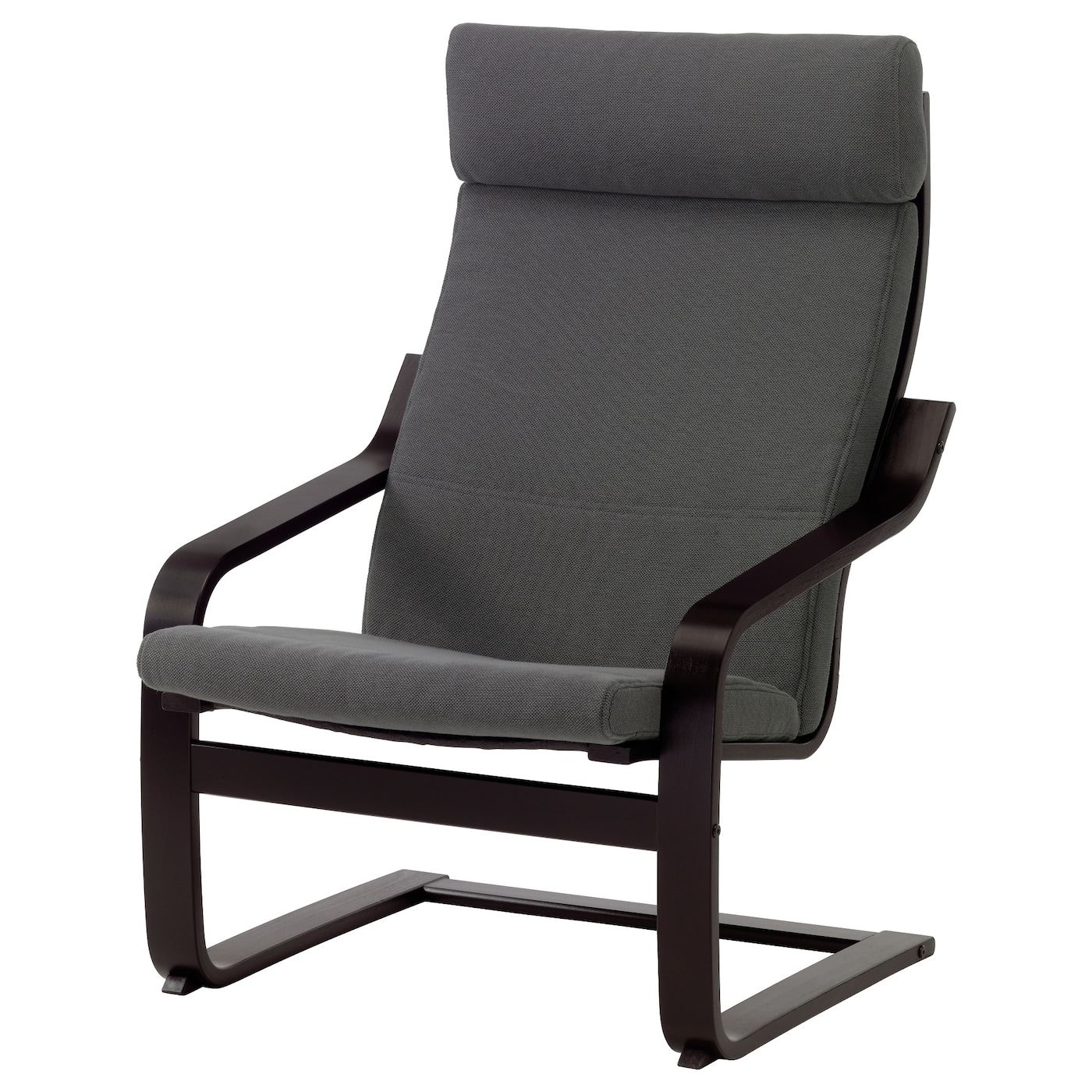 Po ng armchair black brown finnsta grey ikea for Grey comfy chair