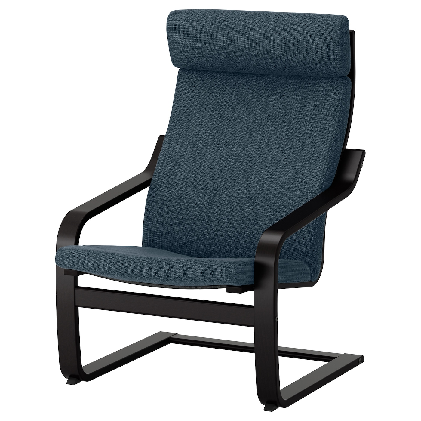 Po ng armchair black brown hillared dark blue ikea - Red poang chair ...