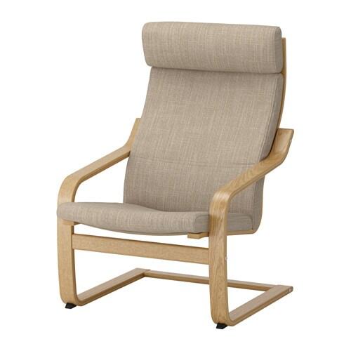 Po ng armchair oak veneer hillared beige ikea for Sessel pax