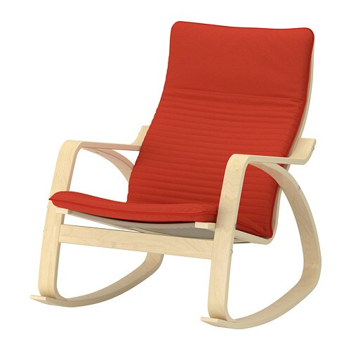 po ng rocking chair birch veneer knisa red orange ikea. Black Bedroom Furniture Sets. Home Design Ideas