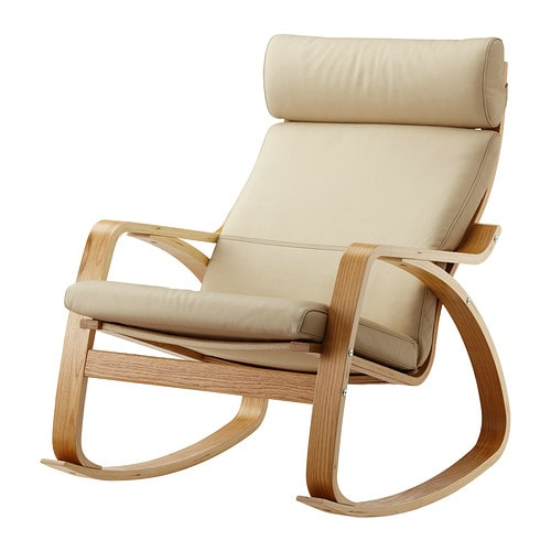 Po ng rocking chair oak veneer glose eggshell ikea for Childrens rocking chair ikea