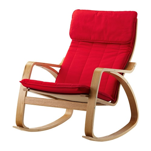 Po ng rocking chair oak veneer ransta red ikea - Red poang chair ...