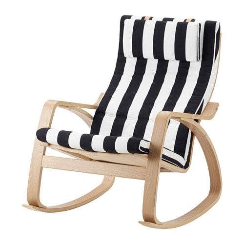 po ng rocking chair oak veneer stenli black white ikea. Black Bedroom Furniture Sets. Home Design Ideas