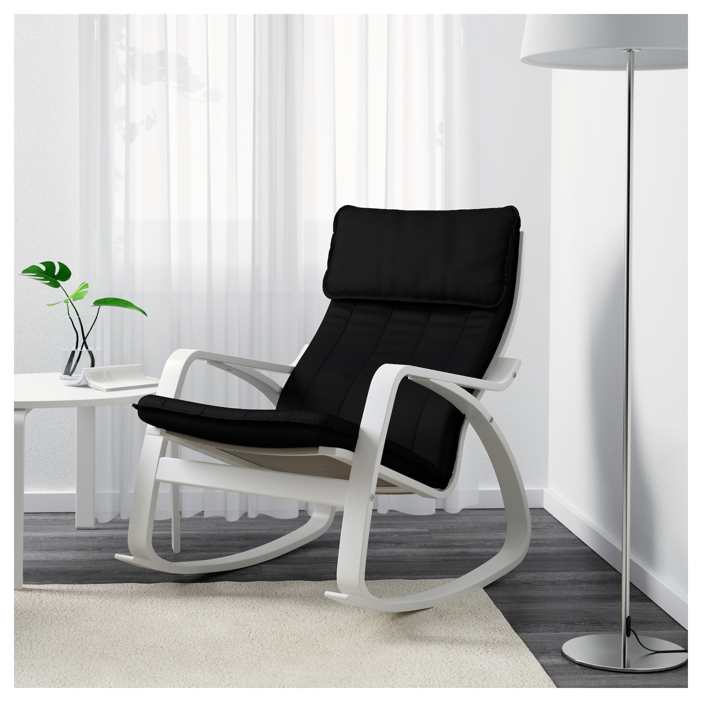 Po ng rocking chair white ransta black ikea - Ikea varmdo rocking chair ...