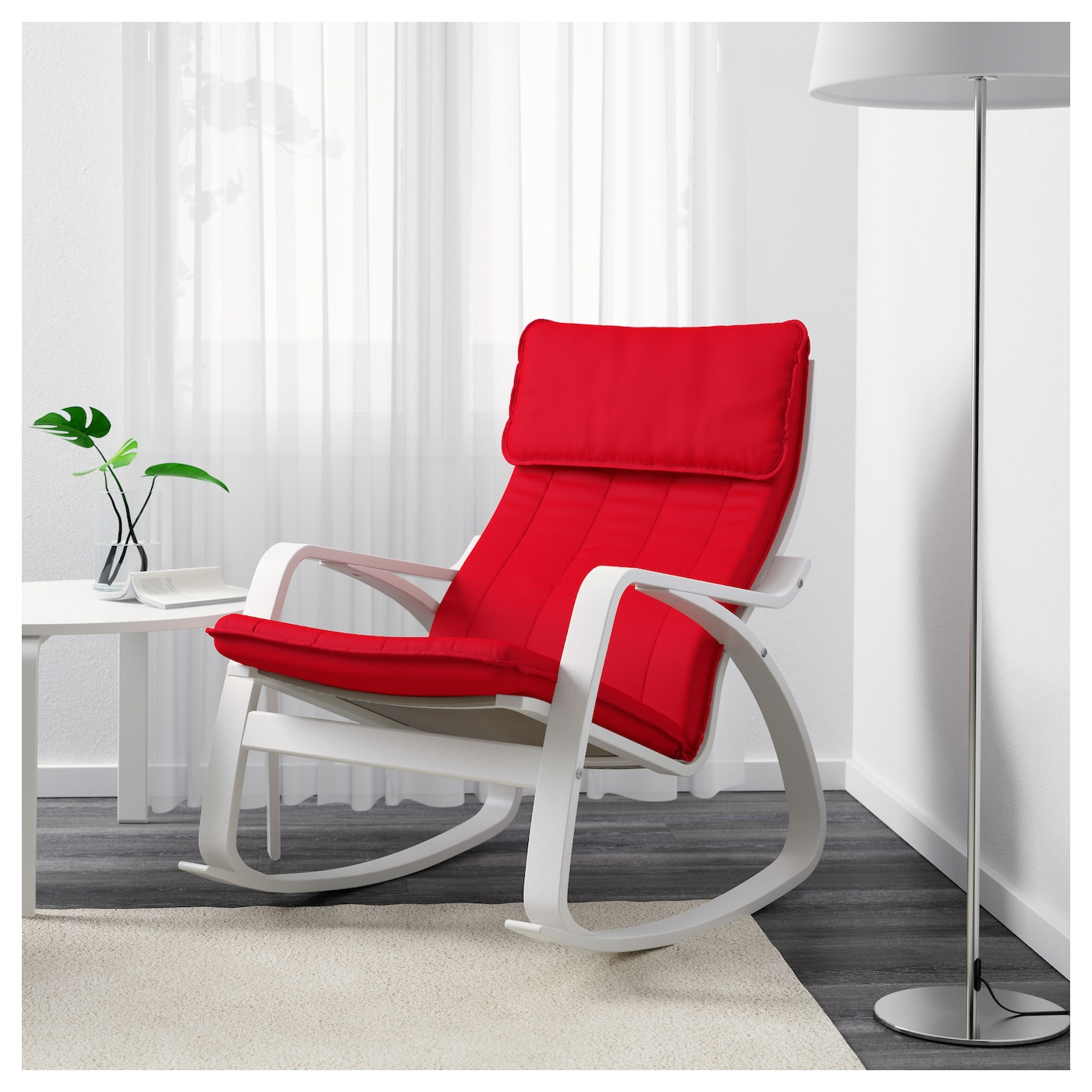 po ng rocking chair white ransta red ikea. Black Bedroom Furniture Sets. Home Design Ideas