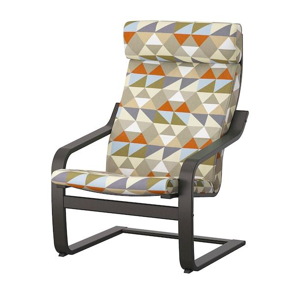 POÄNG Armchair, black-brown/Rockneby multicolour