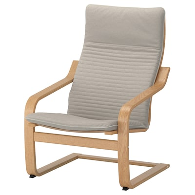 POÄNG Armchair, oak veneer/Knisa light beige