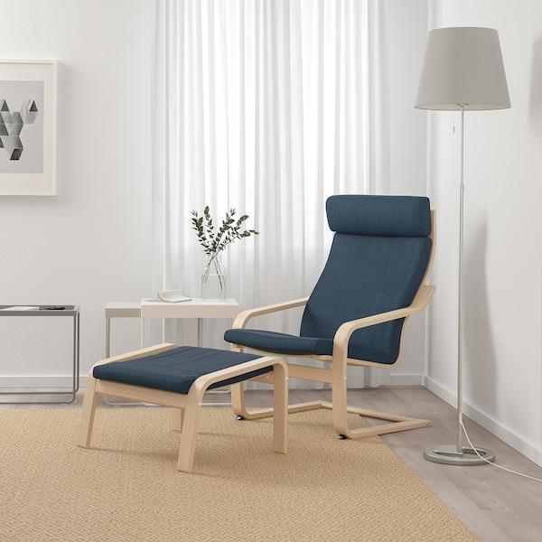POÄNG Armchair, white stained oak veneer/Hillared dark blue