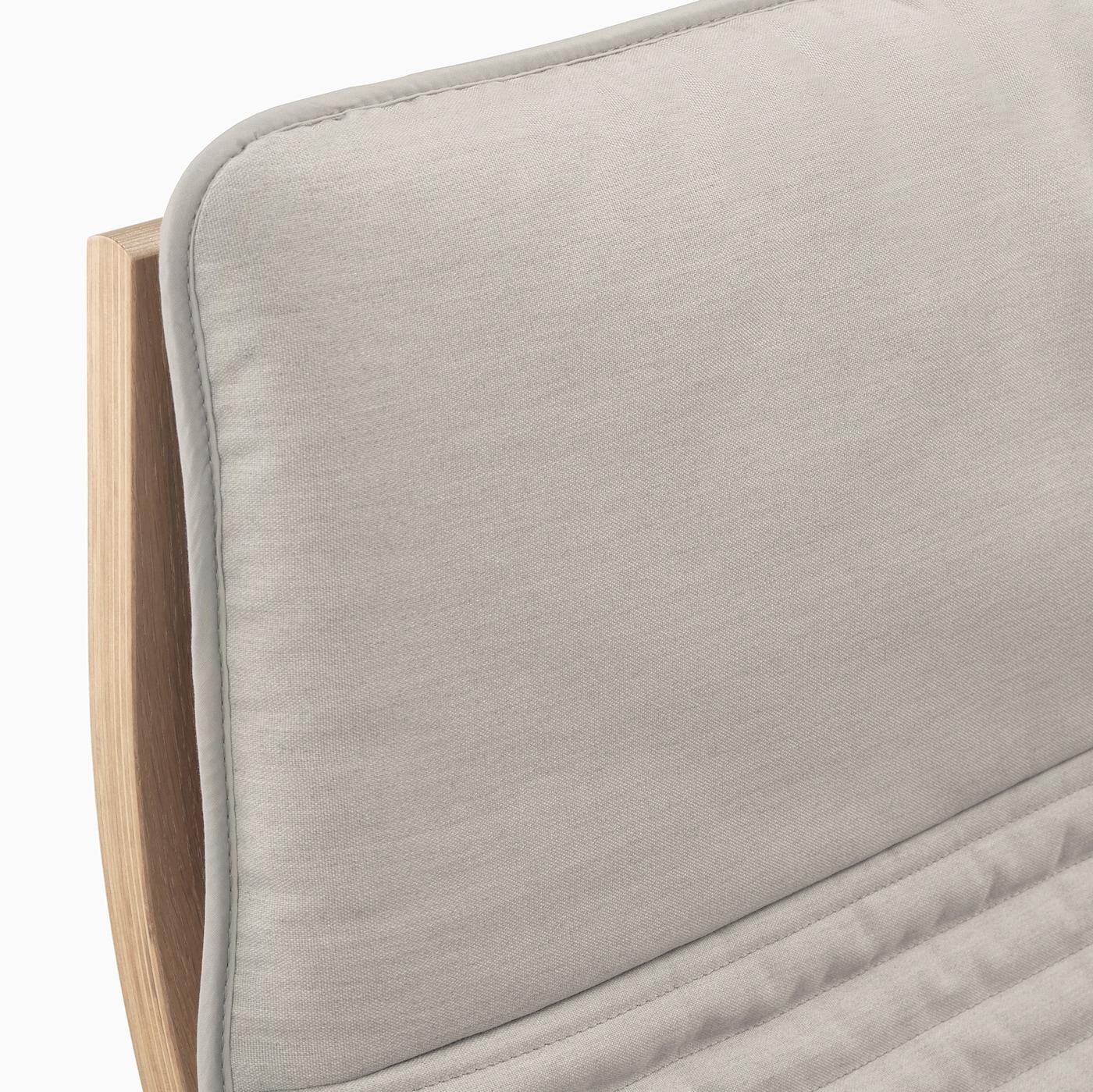 POÄNG Armchair white stained oak veneer, Knisa light beige