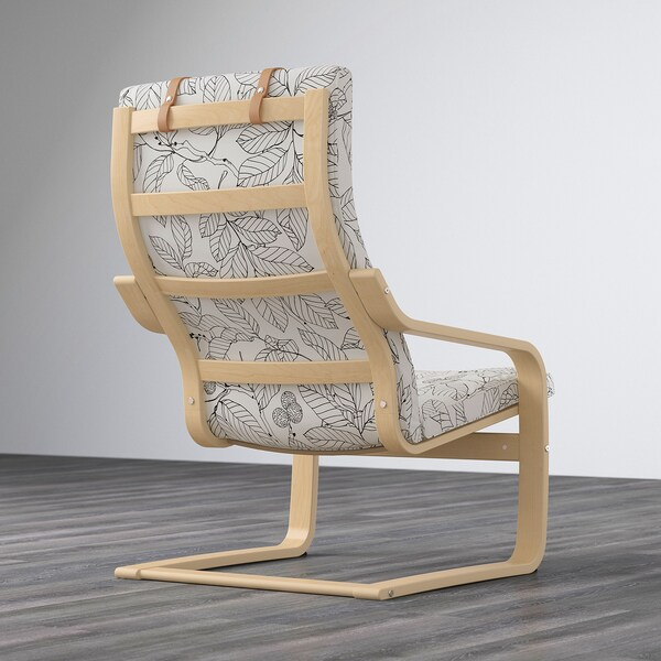 POÄNG Armchair - birch veneer, Vislanda black/white - IKEA