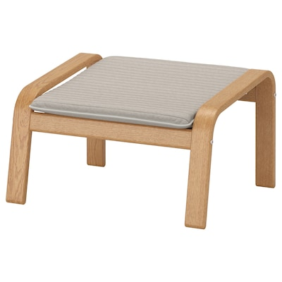 POÄNG Footstool, oak veneer/Knisa light beige