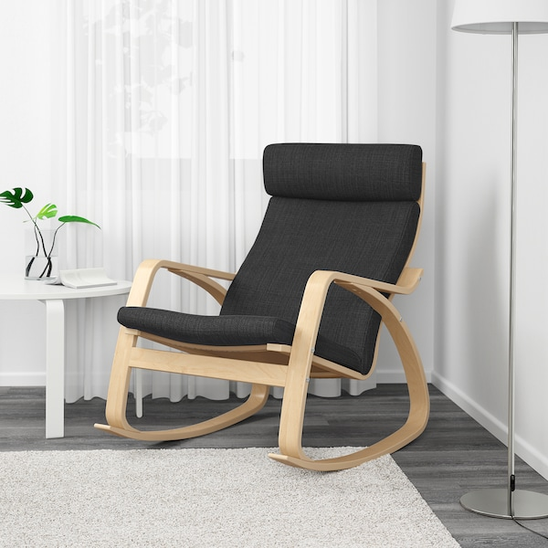 Poang Hillared Anthracite Rocking Chair Width 68 Cm Seat 50 Cm Ikea
