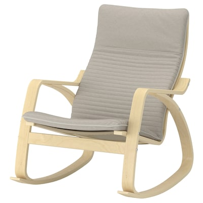 POÄNG Rocking-chair, birch veneer/Knisa light beige