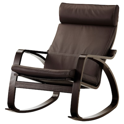 POÄNG Rocking-chair, black-brown/Glose dark brown