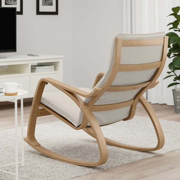 POÄNG Rocking-chair, oak veneer/Knisa light beige