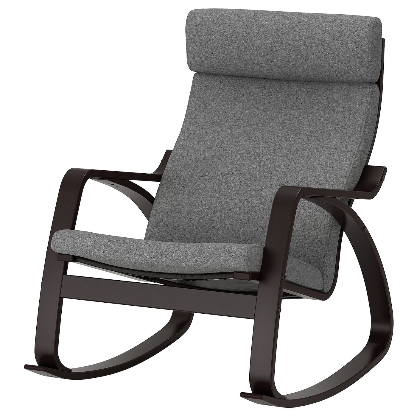 POÄNG Rocking chair black brown, Lysed grey