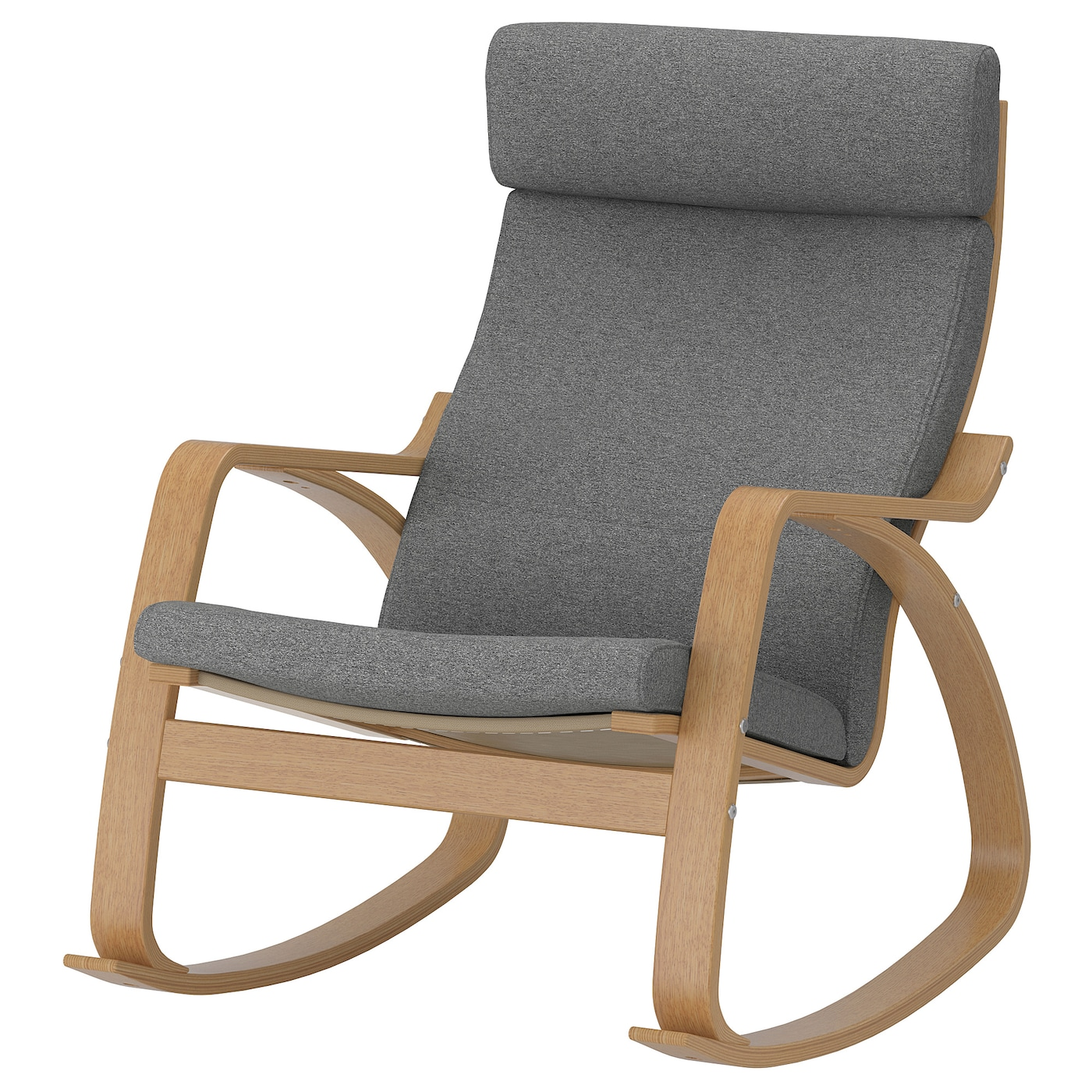 POÄNG Rocking chair oak veneer, Lysed grey