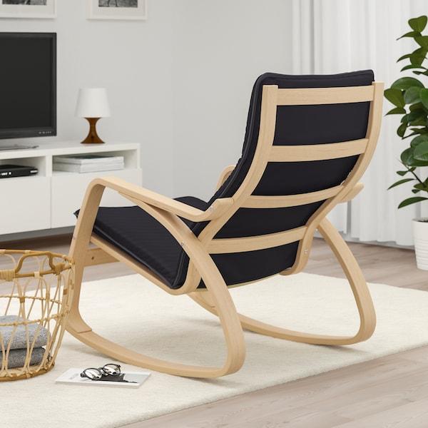 POÄNG Rocking chair white stained oak veneer, Knisa black