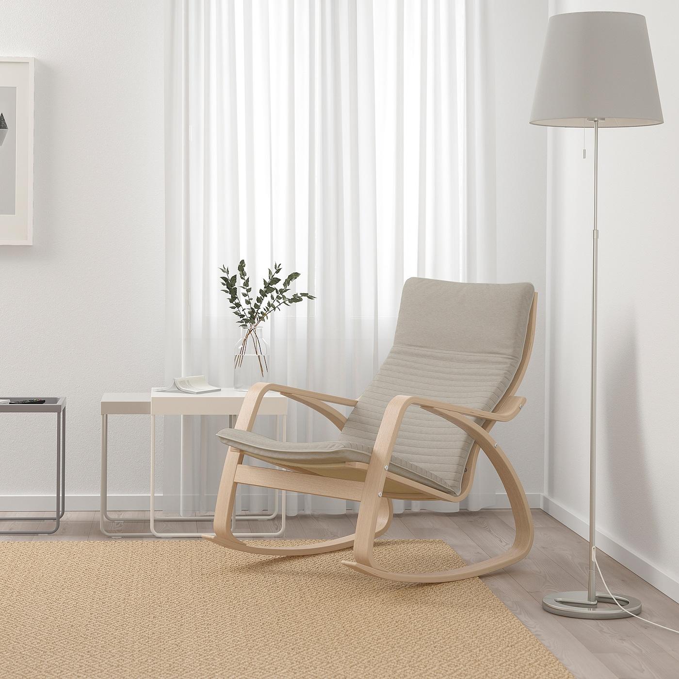 POÄNG Rocking chair white stained oak veneer, Knisa light beige