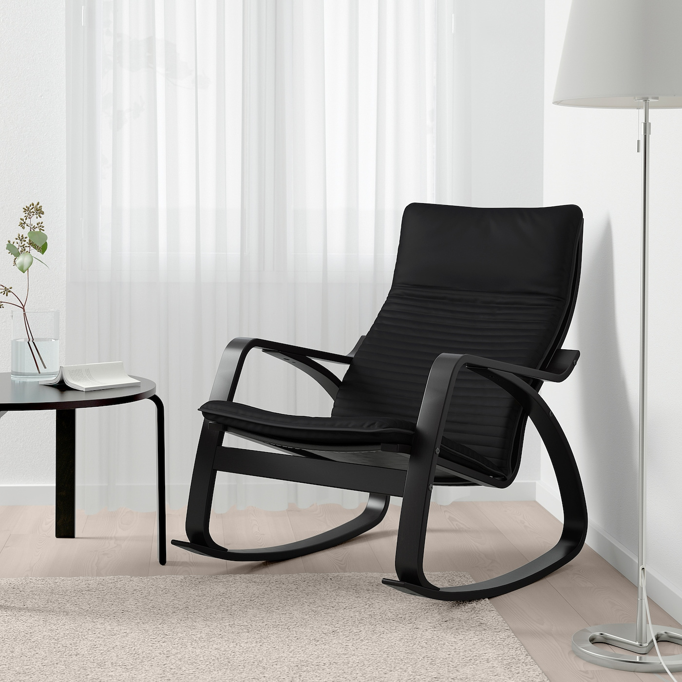 POÄNG Rocking chair black brown, Knisa black
