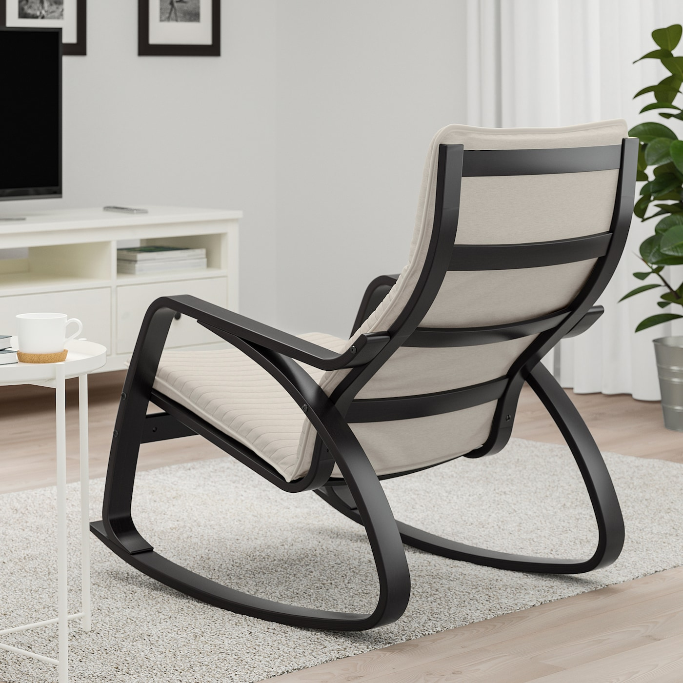 POÄNG Rocking chair black brown, Knisa light beige
