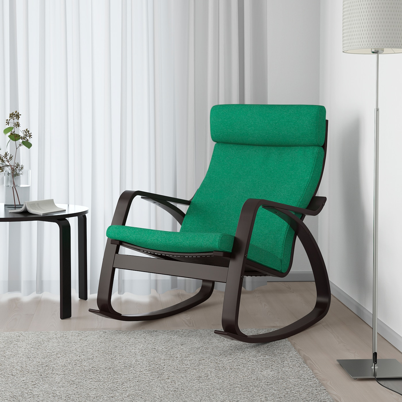 POÄNG Rocking chair black brown, Lysed bright green