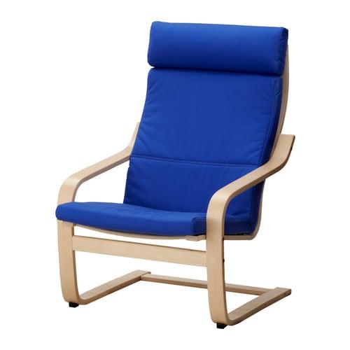 POÄNG Armchair, birch veneer & Granån blue