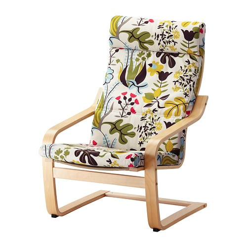 POÄNG Armchair IKEA Layer-glued, bent birch frame provides relaxing resilience.  High back provides great support for your neck.