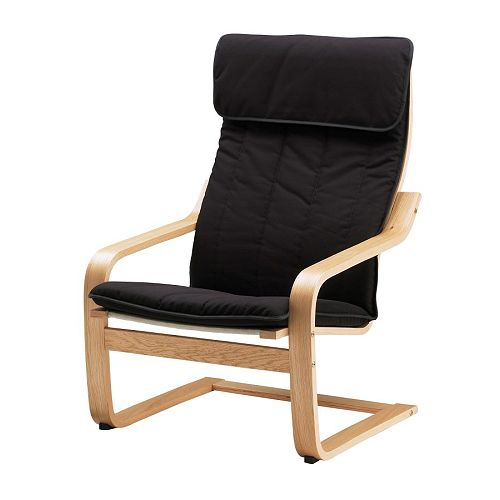POÄNG Armchair IKEA Layer-glued, bent oak; provides comfortable resilience.  High back provides great support for your neck.