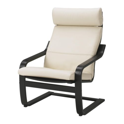 Po ng armchair glose eggshell black brown ikea for Chaise rocking chair ikea