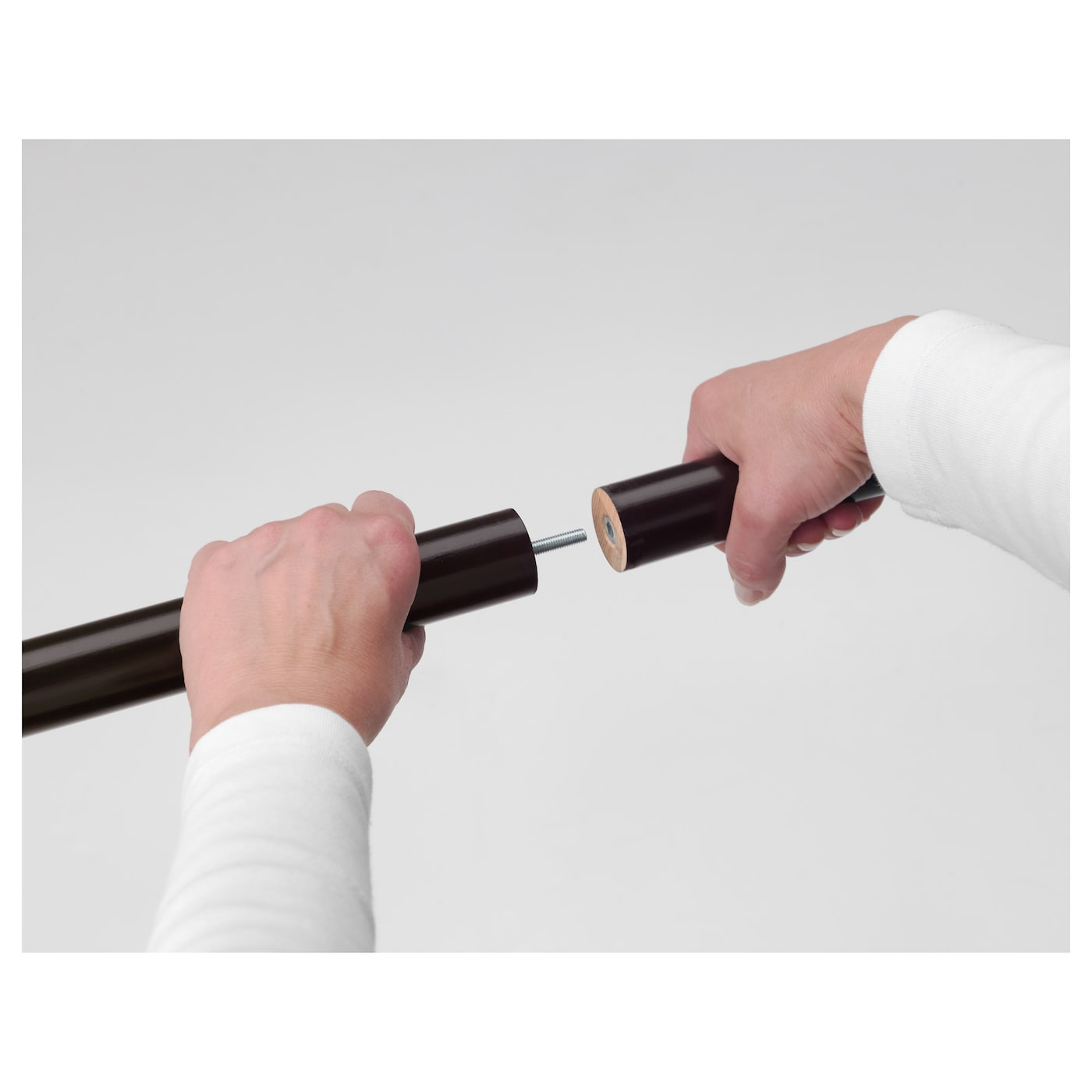 IKEA PORTION curtain rod set Can be cut to the desired length with a hacksaw.