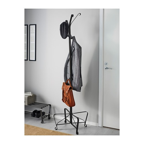 Portis hat and coat stand black 191 cm ikea for Ikea coat and hat rack