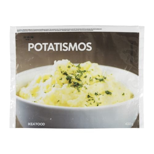 POTATISMOS Mashed potatoes, frozen IKEA Boiled and mashed potatoes - no additives.   Serve with meatballs or any meat, fish or poultry.