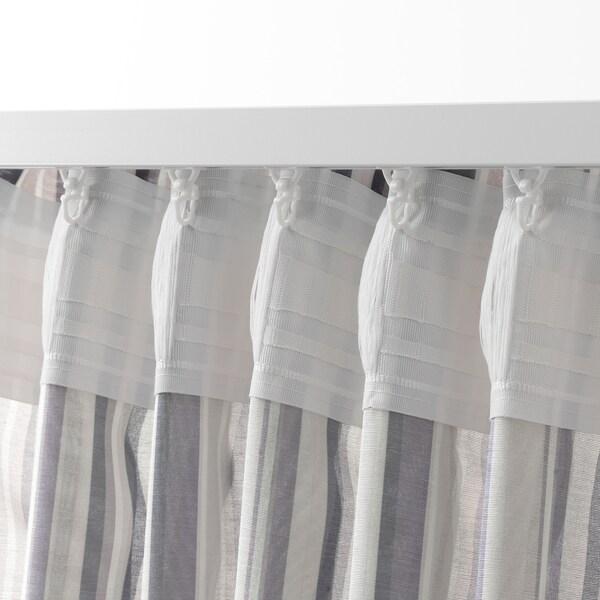 PRAKTKLOCKA Curtains, 1 pair, grey/striped, 145x250 cm