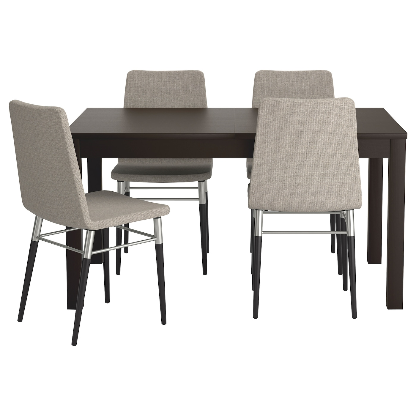 preben/bjursta table and 4 chairs brown-black/tenö light grey 140