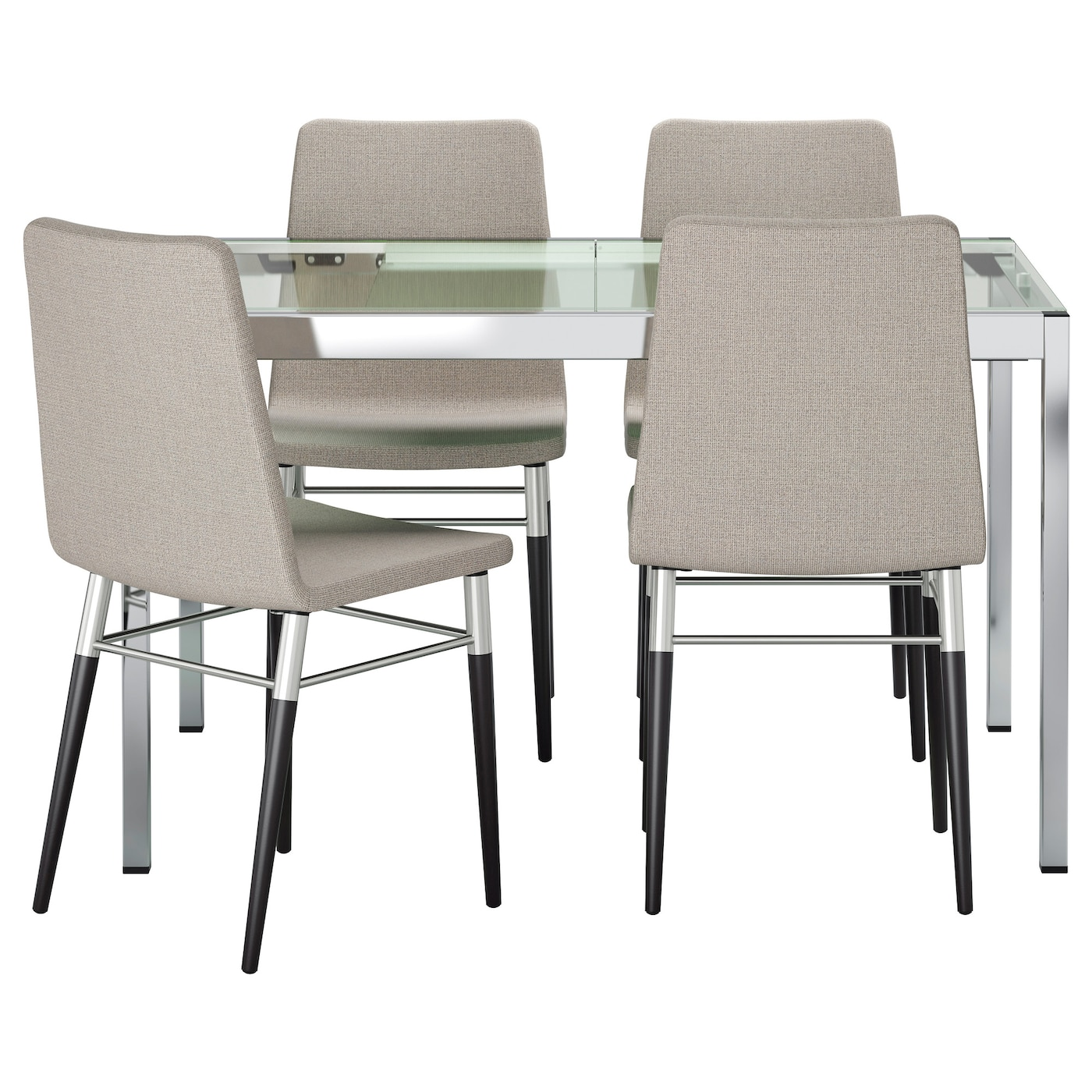 IKEA PREBEN GLIVARP table and 4 chairs You sit comfortably thanks to the  padded seat. PREBEN GLIVARP Table and 4 chairs Transparent ten  light grey 125