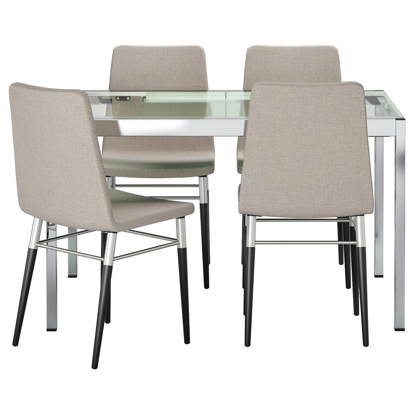 PREBEN GLIVARP Table And 4 Chairs Transparent Ten Light Grey 125 Cm IKEA