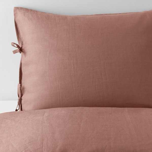 PUDERVIVA Quilt cover and 2 pillowcases, dark pink, 240x220/50x80 cm