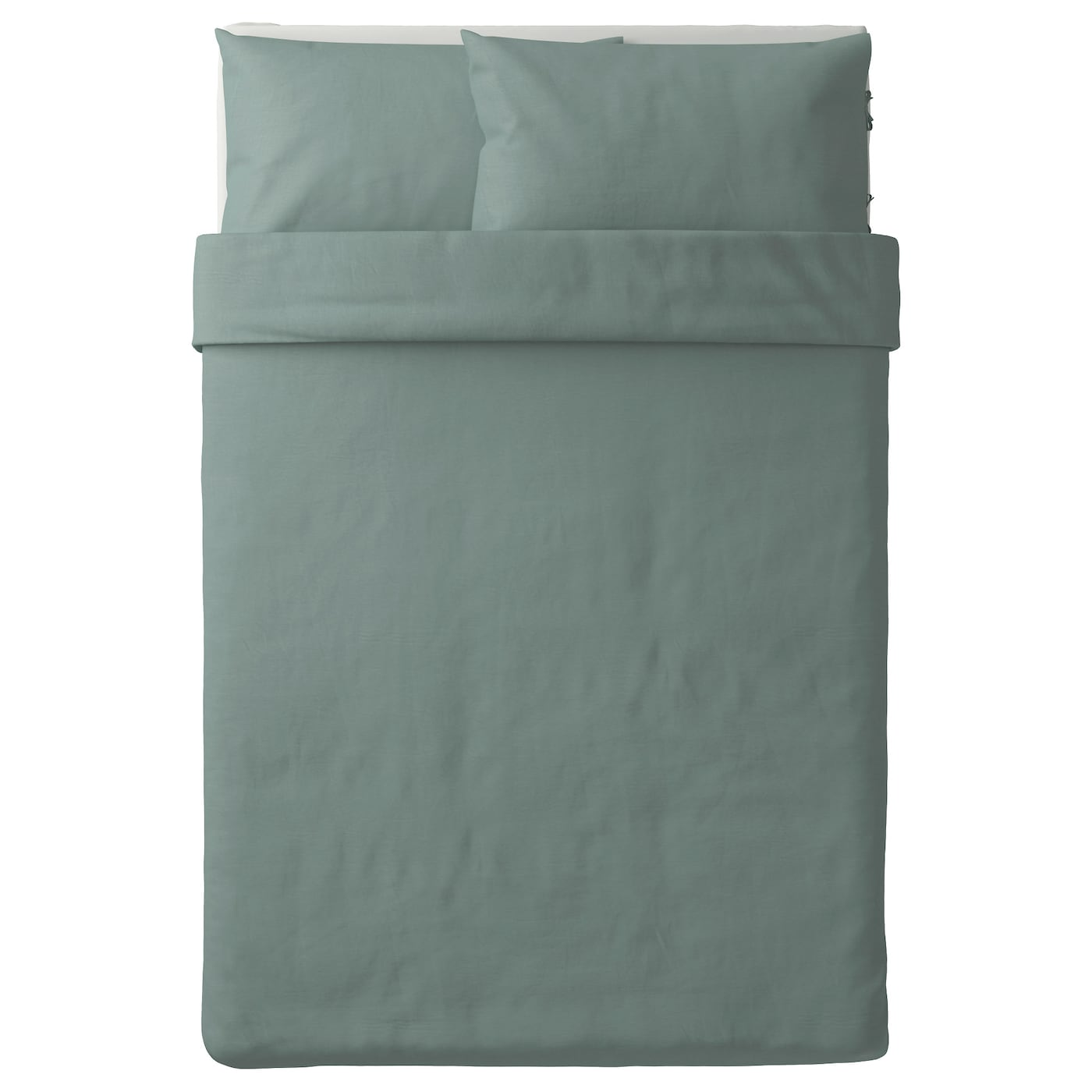 puderviva quilt cover and 2 pillowcases green 200x200 50x80 cm ikea. Black Bedroom Furniture Sets. Home Design Ideas