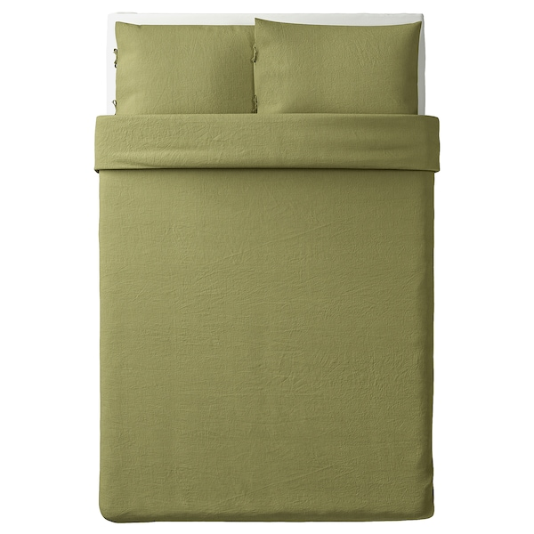PUDERVIVA quilt cover and 2 pillowcases light olive-green 104 /inch² 2 pack 200 cm 200 cm 50 cm 80 cm
