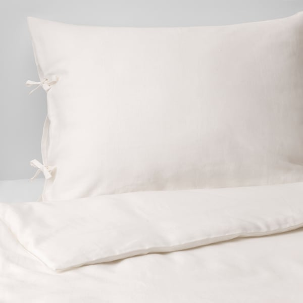 PUDERVIVA Quilt cover and pillowcase, white, 150x200/50x80 cm