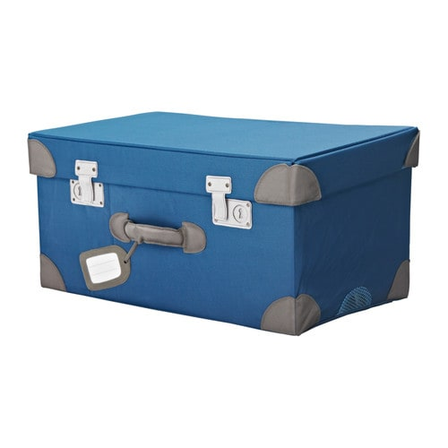 ikea pysslingar kids toy tidy storage trunk chest box case in blue ebay
