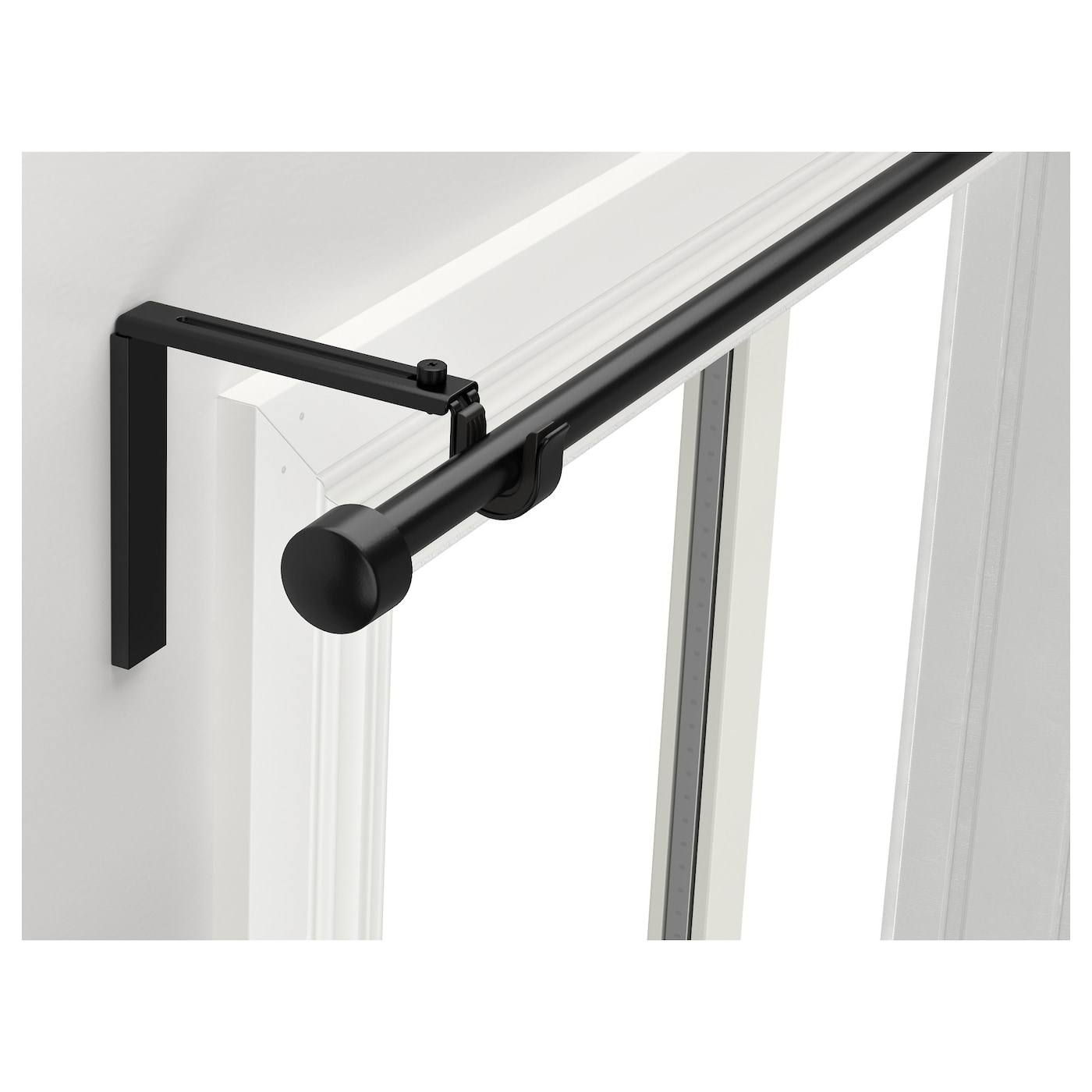 R cka curtain rod combination black 120 210 cm ikea for Soporte para cortinas