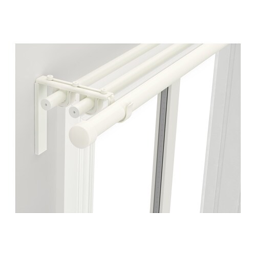 IKEA RÄCKA/HUGAD triple curtain rod combination The length is adjustable.
