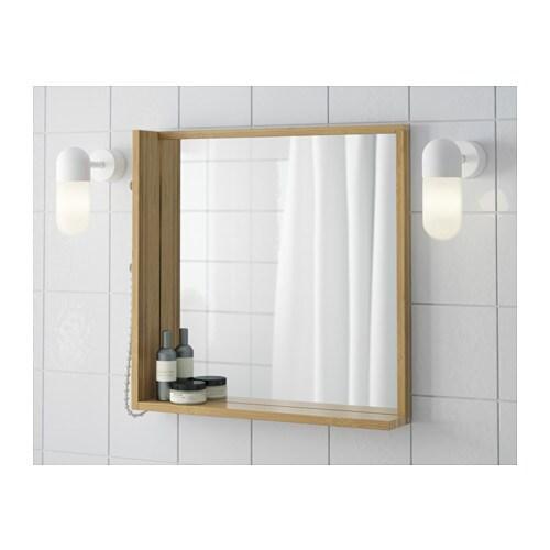R grund mirror bamboo 53x50 cm ikea - Miroir incassable ikea ...