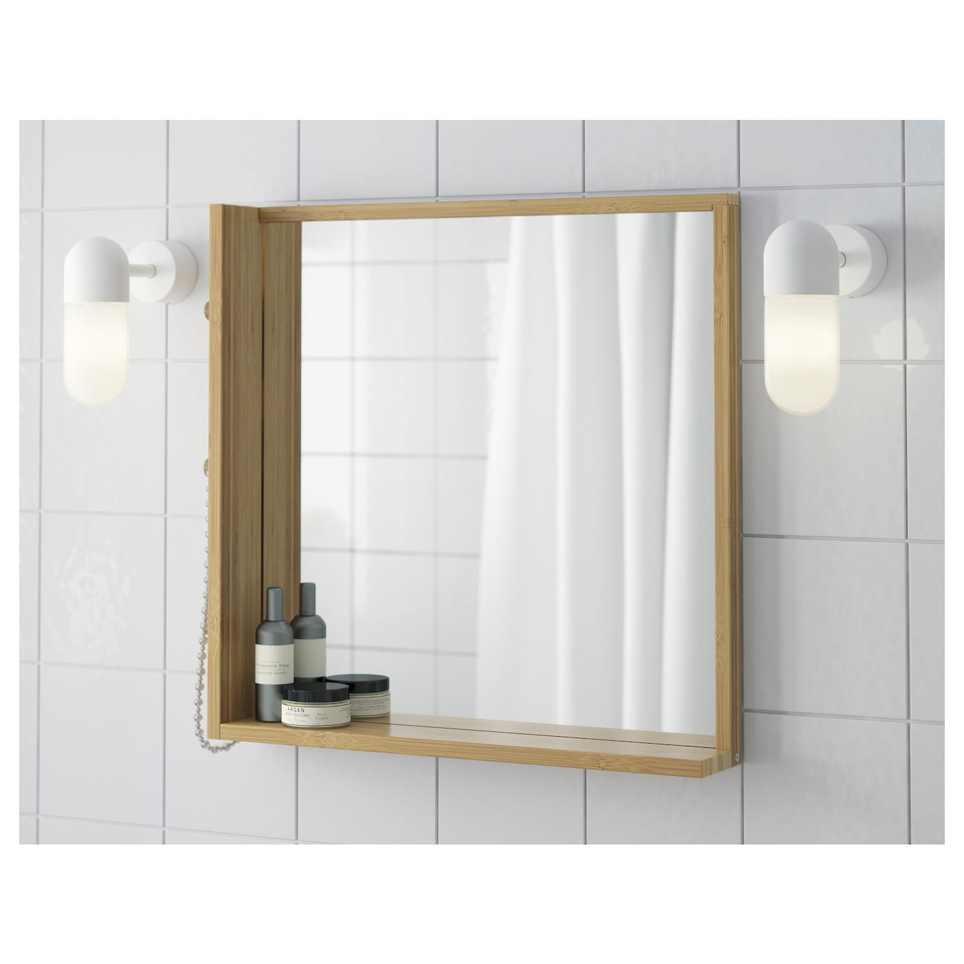 R grund mirror bamboo 53x50 cm ikea for Where to find mirrors