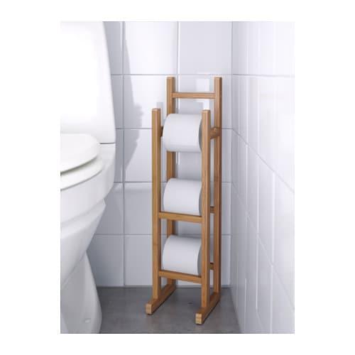 R grund toilet roll stand bamboo ikea - Rangement papier toilette ikea ...