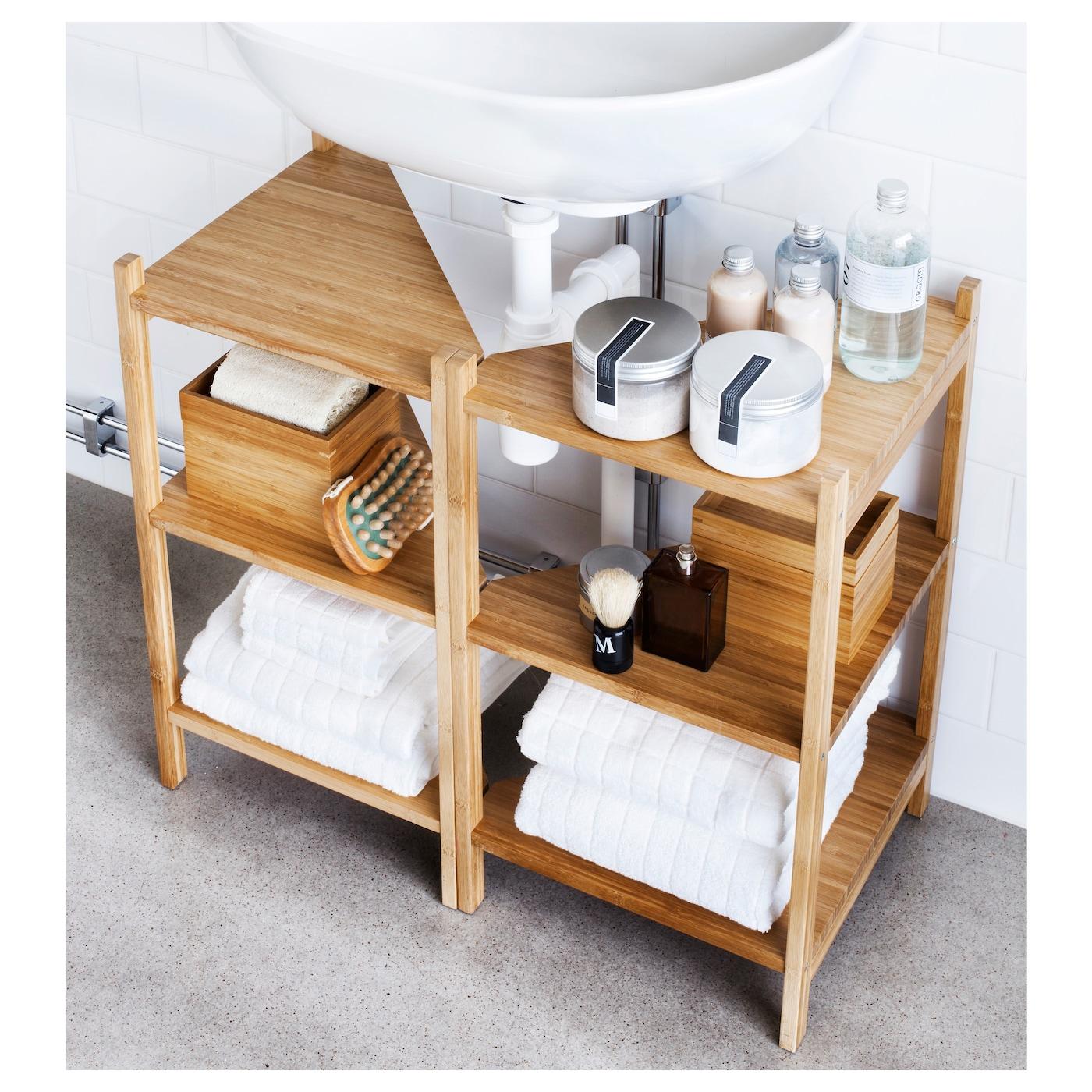 IKEA RÅGRUND Wash Basin/corner Shelf Bamboo Is A Hardwearing Natural  Material.