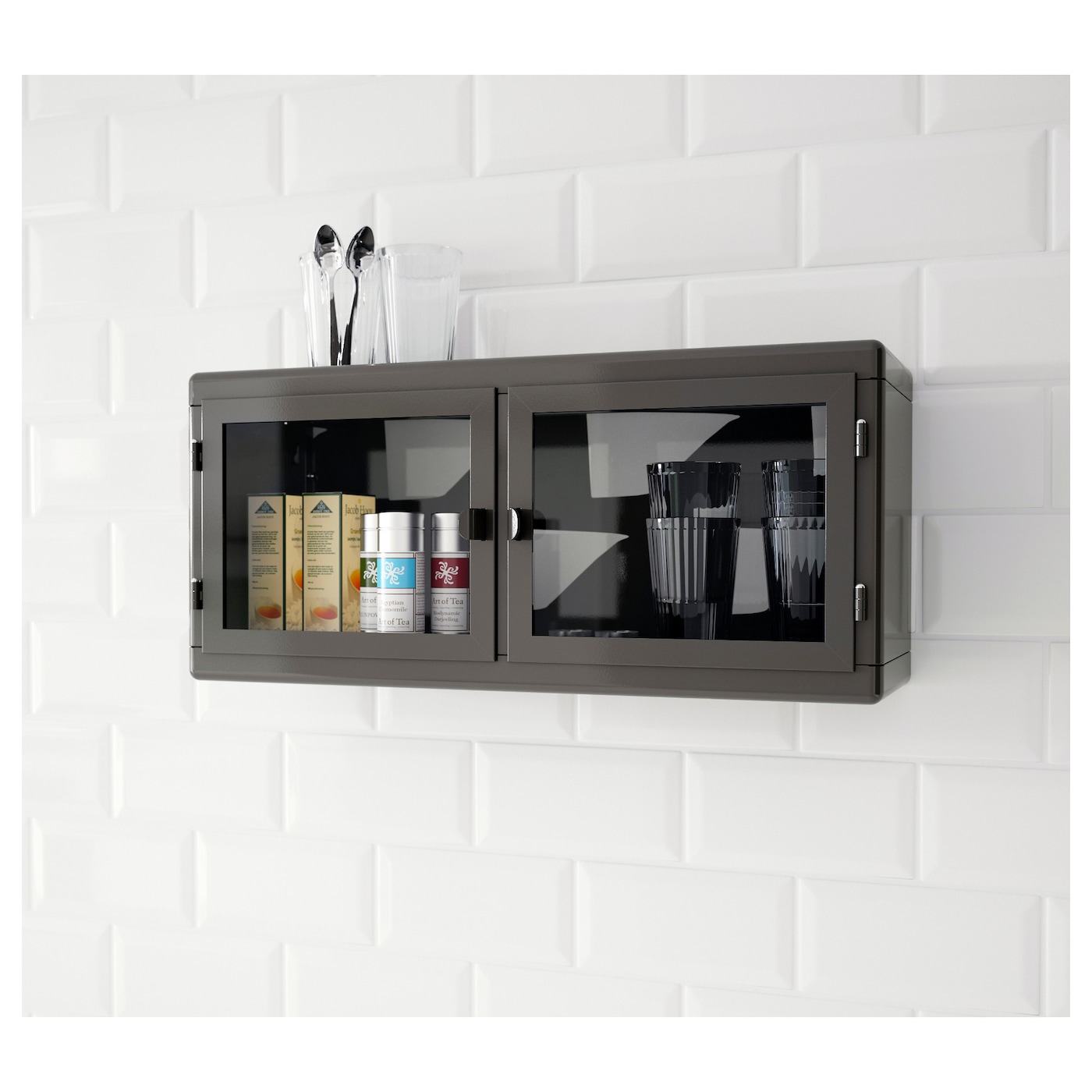 R skog wall cabinet dark grey glass 60x27 cm ikea for Glass kitchen wall units